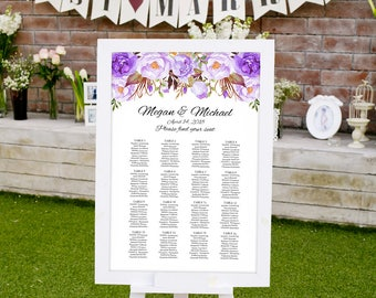 Wedding Seating Chart Template, Boho Chic Floral Wedding Table Plan, Purple Seating Plan, #A020, INSTANT DOWNLOAD, Editable PDF