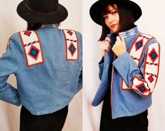 90s Denim Jacket. Cropped Tribal Jacket. Red White and Blue jacket. Size Medium