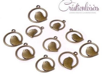 bronze bird - diameter 25 mm - 10 charms