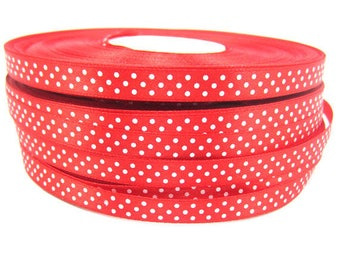 1 meter of Ribbon Red satin with small dots of 10 mm