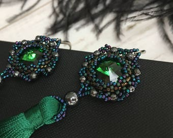 Stunning Emerald Green Tassel Earrings with embroidered Swarovski Crystal!!!