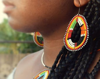 Ethnic Maasai Earrings | African tribal jewelry | beads, statement accessories | handmade in Kenya