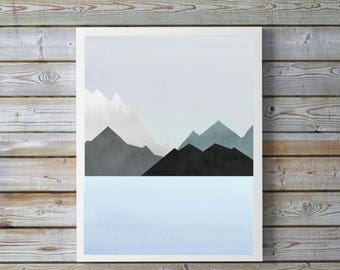 Mountain art,modern,Lake,Watercolor,nursery,abstract,blue,gray,nature,mountain art,Lake,Scandinvian,gift,nursery,A4, 8.5x11,digital,print.