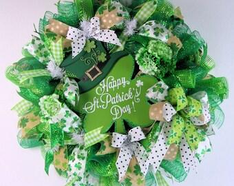 St Patrick's Day, Mesh Wreath, Leprechaun Wreath,Luck of The Irish, Burlap Wreath, St Paddy's Day, St Patrick's Mesh,Green Wreath, Deco Mesh