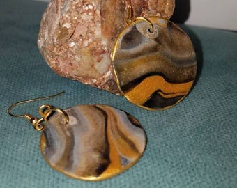 Lightweight Faux Marble Granite Earrings 18kt Gold hardware