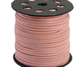 5 m suede effect pink glitter 3 mm
