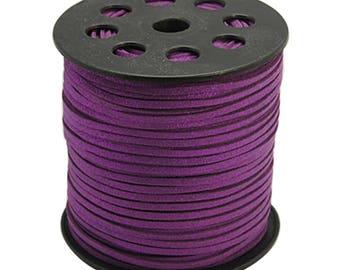 5 m questche purple suede 3 mm glitter effect