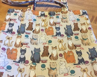 """Cats on a Fabric Bag with Message """"Stick Together"""""""
