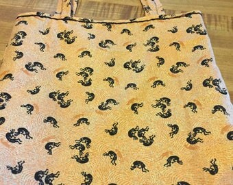 """Kokopelli Dancers Fabric Bag with Message """"And the Beat Goes On"""""""
