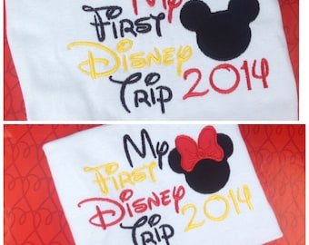 Personalized My First Disney Trip shirt with Mickey or Minnie head custom made embroidered disney vacation shirt