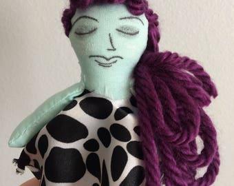 Mini zombie girl doll, purple hair, green skin, black and white dress