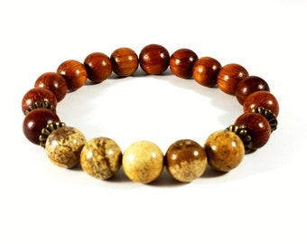 Woodsy Nature~ Handmade Stretch Bracelet~ Composed of Genuine Bayong Wood & Picture Jasper~ For Men or Women~ Gift for him~ Gift for her