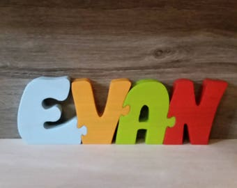 Wooden puzzle Evan name letters