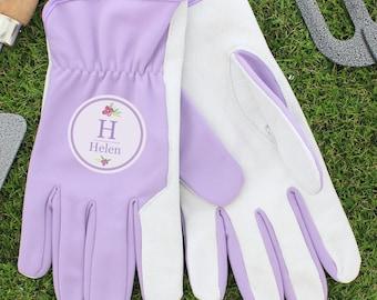 Personalised Name & Initial Lilac Womens Gardening Gloves, Mum, Grandma, Gardener Personalised Gift
