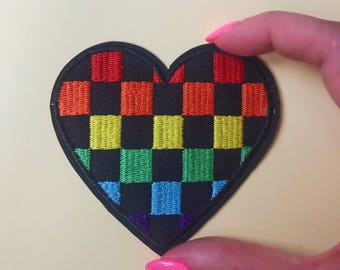 Rainbow heart checkered gay lesbian pride iron-on patch