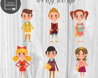 6 School children characters clipart Back to school clipart Digital school elements Cute school graphics Schoolkid clipart Happy school clip