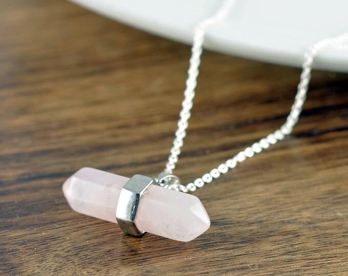 Rose Quartz Necklace - Rose Quartz Crystal - Rose Quartz Necklace - Rose Quartz Jewelry - Gemstone Necklace - Healing Crystal Necklace