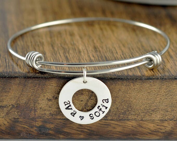 Washer Bracelet, Personalized Bracelet, Mothers Jewelry, Mom Gift, Mom Birthday Gift, Name Bracelet, Mother's Day Gift