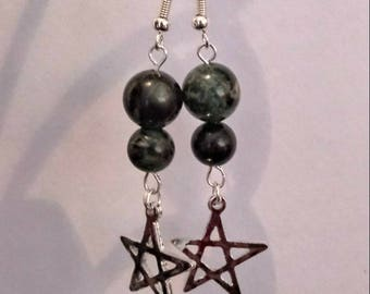Kambaba Jasper Pentacle Earrings/Sterling Silver Hooks