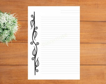 Printable Lined Border Paper, Elegant Simple A4 Letter Paper, Calligraphy,  Correspondence Paper Ready  Lined Border Paper