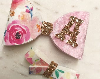 Personalised initial floral large crushed velvet bow rose gold glitter centre