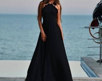 Extravagant Long Summer dress/Black Maxi dress/black party dress/sexy long dress/extravagant black dress