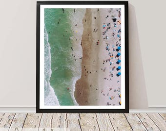 Beach Photography, Wall Art Print, Digital Download, Ocean Water Photo, Instant download, Printable Large Poster, Coastal Decor, Drone Beach