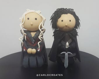 GAME OF THRONES - Jon Snow and Daenerys Targaryen Set of Handmade Miniature Collectable Figurines