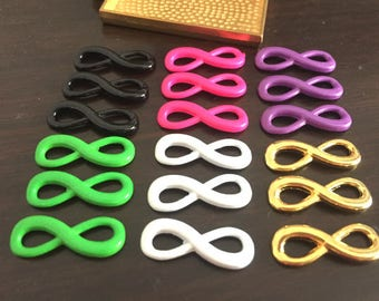 wholesale 100 Pieces /Lot black/hot pink/purple/green/white/gold Plated 24mmx7mm Infinity 8 Charms Link Connector