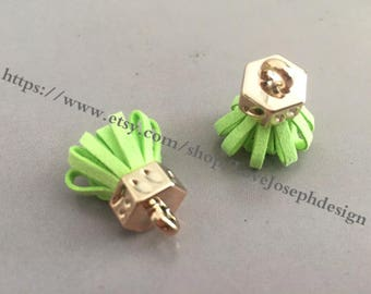 20pieces green suede leather KC gold caps ear tassel --for length 30mmx20mm(#0182)