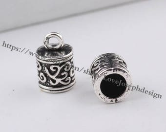 wholesale 50pieces antique silver 12mmx8mm(inner hole 6mm)tassel caps/end caps/cord caps/cord findings (#0484)
