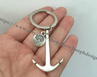 Anchor & tree keychain, Anchor tree gifts key ring