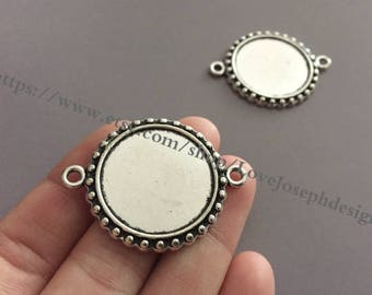 Wholesale 50 Pieces /Lot Antique Silver Plated 25mm cabochon blanks trays link connectors