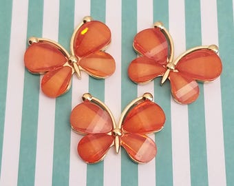 30mm Decoden orange butterfly cabochon gold alloy acrylic flatbacks pendant charm accessories kawaii jewelry supplies phone case deco