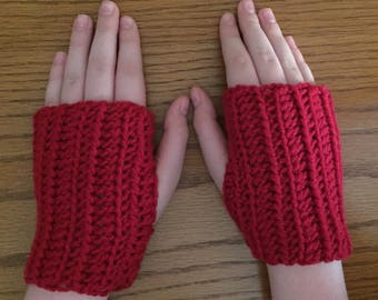 Crochet Fingerless Gloves, Red, Small Gloves, Wrist Warmers, Texting Gloves, Crochet Gloves, Arm Warmers, Fingerless Mittens, Hippie Boho