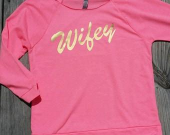 Free shipping Wifey off the shoulder raglan tee shirt