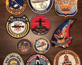Vintage USS Navy Ship and Assorted Patches