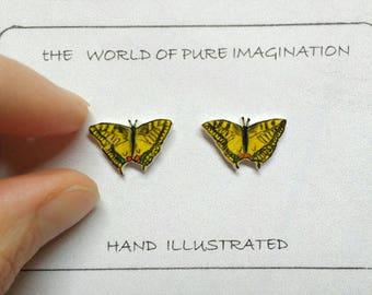 Papilio machaon earings. butterfly earrings.common yellow swallowtail . swallowtail. Butterfly.swallowtail stud earrings. butterfly stud.