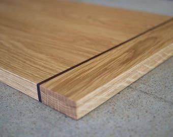 Bread board, chopping board,  serving board - oak with jarrah detail.