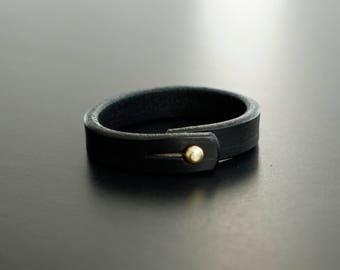 Leather Bracelet ..........................................................handmade, black leather, birthday, minimal jewelry, simple design