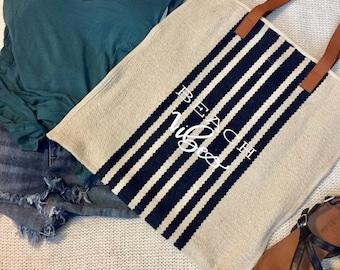 Cream + Navy Handloom Woven Tote Bag | Beach Vibes | Wedding | Bridal | Honeymoon | Summer Getaway | HTV Vinyl Calligraphy | Gift
