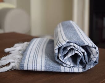 All Cotton Turkish Palace Peshtemal for Bath Spa Sauna Beach Towel 100% Cotton Extra HIGH Quality Hammam towel Turkish Towel Blue