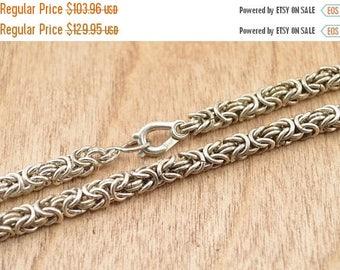 BIG SALE On Sale Byzantine Chain Necklace Sterling Silver 40.6g