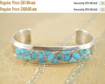 BIG SALE On Sale Chip Inlay Grooved Mosaic Cuff Bracelet Sterling Silver 34.7g