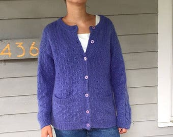 Vintage 90s Mohair Periwinkle Cable Knit Sweater Coat | S-L