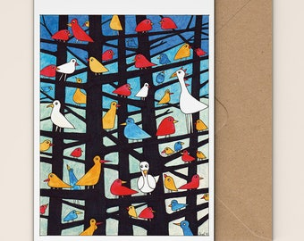 Abstract bird design, blank greeting card, birthday card, recycled card, notelet