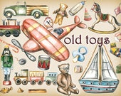 Toy clipart, toys clipart, old toys clipart, kids clipart, Retro toys, vintage toys, Watercolor, Digital DIY , toy boys clipart,Hand Painted