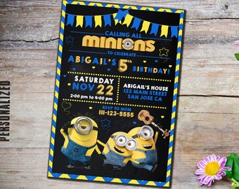 Minion, minion Invitation, minion Birthday, minion Birthday party, minions Invitation, birthday invitation, minion party, minions, party
