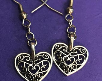 Silver Floral Scroll Heart Dangle Earrings