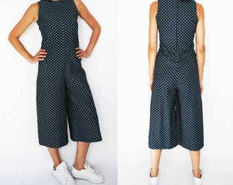 Blue Denim Cotton Jumpsuit, White Polka Dots. High Quality Οversized Midi Length Jumpsuit. Women fashion by Who Cares.